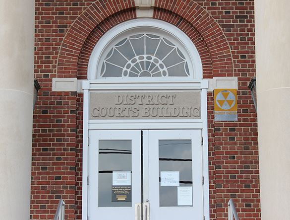 An entrance into the District Courts building