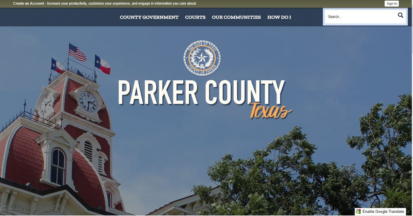 Image of home screen of Parker County&#39s new website design showing the Parker County Courthouse